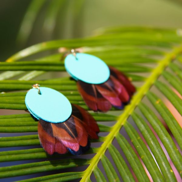 Boucle d'oreille cuir turquoise